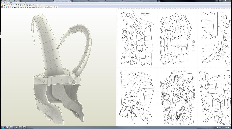 Pepakura Designer 3 and the Loki Helmet created by KaiserLee